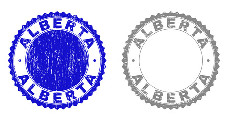 ALBERTA stamp seals with distress texture in blue and gray colors isolated on white background. Vector rubber imitation of ALBERTA label inside round rosette. Stamp seals with dirty styles.