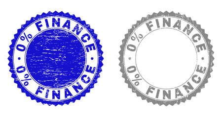 0% FINANCE stamp seals with grunge texture in blue and grey colors isolated on white background. Vector rubber imitation of 0% FINANCE caption inside round rosette. Stamp seals with retro styles. Illustration