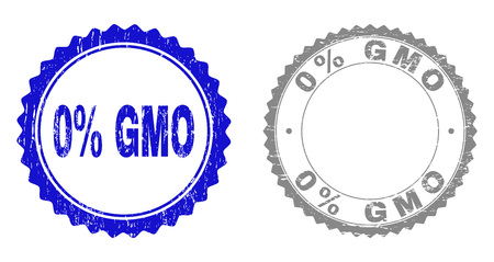 0% GMO stamp seals with grunge texture in blue and grey colors isolated on white background. Vector rubber imitation of 0% GMO label inside round rosette. Stamp seals with grunge styles.