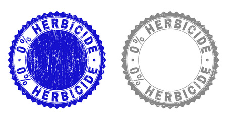 0% HERBICIDE stamp seals with grunge texture in blue and gray colors isolated on white background. Vector rubber imitation of 0% HERBICIDE text inside round rosette.