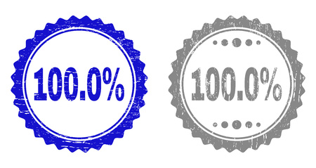 100.0% stamp seals with distress texture in blue and grey colors isolated on white background. Vector rubber overlay of 100.0% title inside round rosette. Stamp seals with grunge styles.