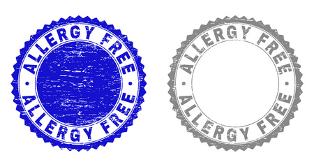 ALLERGY FREE stamp seals with grunge texture in blue and grey colors isolated on white background. Vector rubber overlay of ALLERGY FREE text inside round rosette. Stamp seals with grunge textures.