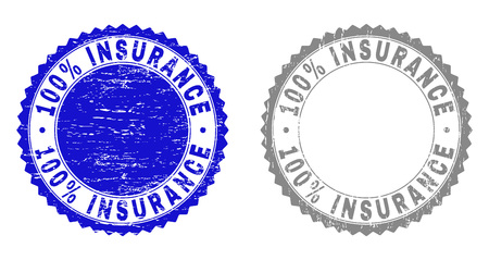 100% INSURANCE stamp seals with grunge texture in blue and gray colors isolated on white background. Vector rubber imprint of 100% INSURANCE caption inside round rosette. Иллюстрация