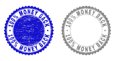 100% MONEY BACK stamp seals with grunge texture in blue and gray colors isolated on white background. Vector rubber watermark of 100% MONEY BACK label inside round rosette.
