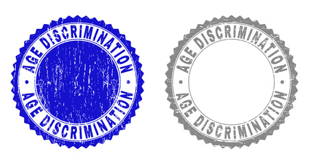 AGE DISCRIMINATION stamp seals with grunge texture in blue and grey colors isolated on white background. Vector rubber imprint of AGE DISCRIMINATION text inside round rosette.