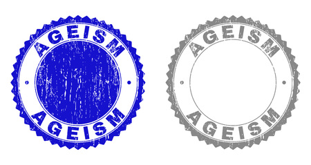 AGEISM stamp seals with distress texture in blue and gray colors isolated on white background. Vector rubber watermark of AGEISM text inside round rosette. Stamp seals with dirty styles. Illustration