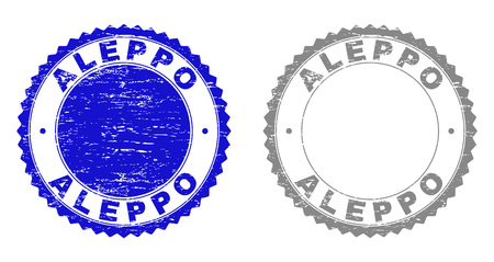 ALEPPO stamp seals with grunge texture in blue and gray colors isolated on white background. Vector rubber overlay of ALEPPO text inside round rosette. Stamp seals with grunge styles. Ilustración de vector