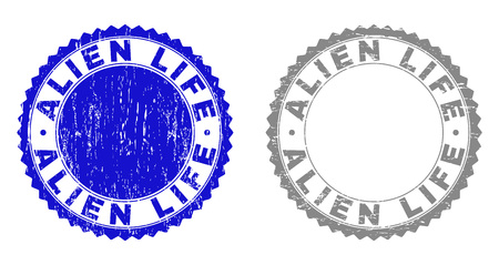 ALIEN LIFE stamp seals with grunge texture in blue and gray colors isolated on white background. Vector rubber imitation of ALIEN LIFE title inside round rosette. Stamp seals with grunge styles.