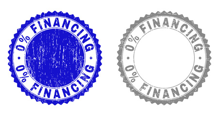 0% FINANCING stamp seals with grunge texture in blue and grey colors isolated on white background. Vector rubber imprint of 0% FINANCING label inside round rosette. Stamp seals with corroded textures.