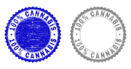 100% CANNABIS stamp seals with grunge texture in blue and grey colors isolated on white background. Vector rubber imprint of 100% CANNABIS label inside round rosette. Stamp seals with grunge textures. Çizim