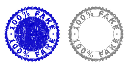 100% FAKE stamp seals with grunge texture in blue and grey colors isolated on white background. Vector rubber imitation of 100% FAKE caption inside round rosette. Stamp seals with retro textures.