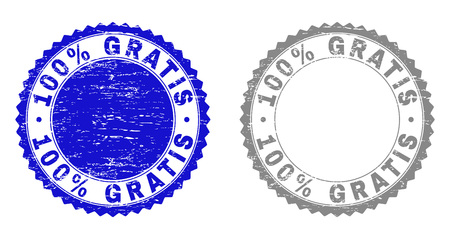 100% GRATIS stamp seals with grunge texture in blue and gray colors isolated on white background. Vector rubber imprint of 100% GRATIS tag inside round rosette. Stamp seals with retro styles.