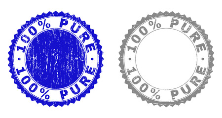 100% PURE stamp seals with distress texture in blue and grey colors isolated on white background. Vector rubber overlay of 100% PURE caption inside round rosette. Stamp seals with scratched styles.