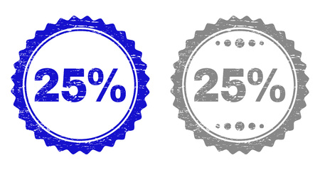 25% stamp seals with distress texture in blue and grey colors isolated on white background. Vector rubber overlay of 25% caption inside round rosette. Stamp seals with grunge textures.