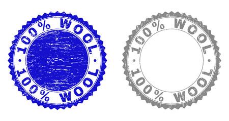 100 % WOLLE-Stempelsiegel mit Grunge-Textur in blauen und grauen Farben isoliert auf weißem Hintergrund. Vektor-Gummi-Overlay aus 100 % WOLLE-Etikett innerhalb der runden Rosette. Stempelsiegel mit korrodierten Texturen.