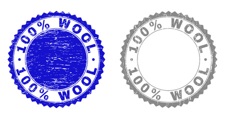 100% WOOL stamp seals with grunge texture in blue and grey colors isolated on white background. Vector rubber overlay of 100% WOOL label inside round rosette. Stamp seals with corroded textures.