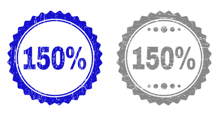 150% stamp seals with grunge texture in blue and gray colors isolated on white background. Vector rubber watermark of 150% text inside round rosette. Stamp seals with unclean styles.