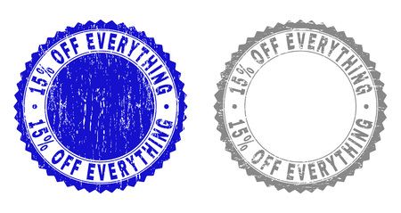 15% OFF EVERYTHING stamp seals with grunge texture in blue and gray colors isolated on white background. Vector rubber imitation of 15% OFF EVERYTHING label inside round rosette.