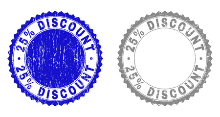 25% DISCOUNT stamp seals with grunge texture in blue and grey colors isolated on white background. Vector rubber imprint of 25% DISCOUNT label inside round rosette. Stamp seals with grunge textures.