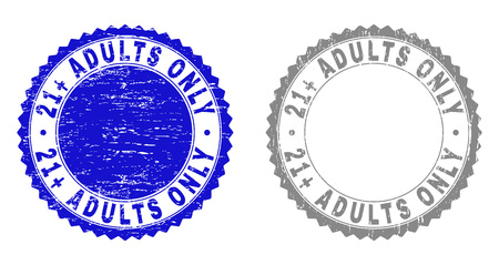 21+ ADULTS ONLY stamp seals with grunge texture in blue and grey colors isolated on white background. Vector rubber watermark of 21+ ADULTS ONLY text inside round rosette.