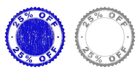 25% OFF stamp seals with grunge texture in blue and grey colors isolated on white background. Vector rubber imitation of 25% OFF tag inside round rosette. Stamp seals with dust styles.  イラスト・ベクター素材
