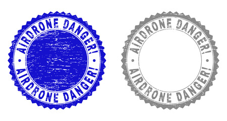AIRDRONE DANGER! stamp seals with grunge texture in blue and gray colors isolated on white background. Vector rubber imitation of AIRDRONE DANGER! label inside round rosette. Illustration