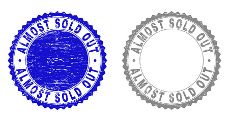Grunge ALMOST SOLD OUT stamp seals isolated on a white background. Rosette seals with grunge texture in blue and grey colors. Vector rubber watermark of ALMOST SOLD OUT caption inside round rosette. Illustration