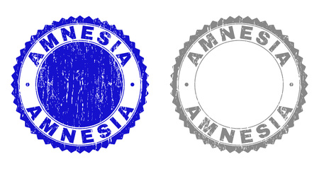 Grunge AMNESIA stamp seals isolated on a white background. Rosette seals with distress texture in blue and grey colors. Vector rubber watermark of AMNESIA title inside round rosette.