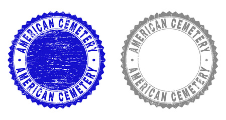 Grunge AMERICAN CEMETERY stamp seals isolated on a white background. Rosette seals with grunge texture in blue and grey colors. Vector rubber imitation of AMERICAN CEMETERY title inside round rosette.