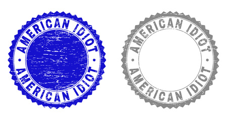Grunge AMERICAN IDIOT stamp seals isolated on a white background. Rosette seals with grunge texture in blue and gray colors. Vector rubber watermark of AMERICAN IDIOT tag inside round rosette.