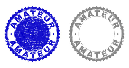 Grunge AMATEUR stamp seals isolated on a white background. Rosette seals with grunge texture in blue and gray colors. Vector rubber imprint of AMATEUR title inside round rosette.