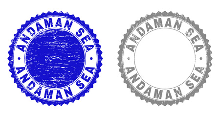 Grunge ANDAMAN SEA stamp seals isolated on a white background. Rosette seals with grunge texture in blue and gray colors. Vector rubber overlay of ANDAMAN SEA caption inside round rosette.