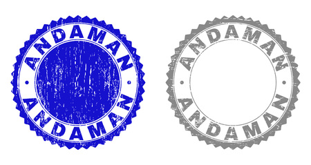 Grunge ANDAMAN stamp seals isolated on a white background. Rosette seals with grunge texture in blue and gray colors. Vector rubber imitation of ANDAMAN tag inside round rosette. Иллюстрация