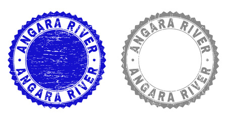 Grunge ANGARA RIVER stamp seals isolated on a white background. Rosette seals with grunge texture in blue and gray colors. Vector rubber imitation of ANGARA RIVER text inside round rosette.