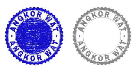 Grunge ANGKOR WAT stamp seals isolated on a white background. Rosette seals with grunge texture in blue and grey colors. Vector rubber imprint of ANGKOR WAT tag inside round rosette. Иллюстрация