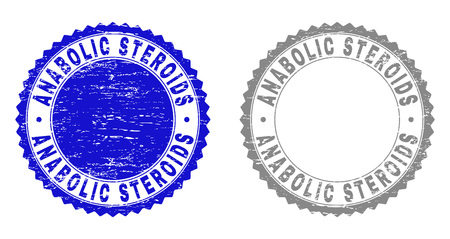 Grunge ANABOLIC STEROIDS stamp seals isolated on a white background. Rosette seals with grunge texture in blue and grey colors.