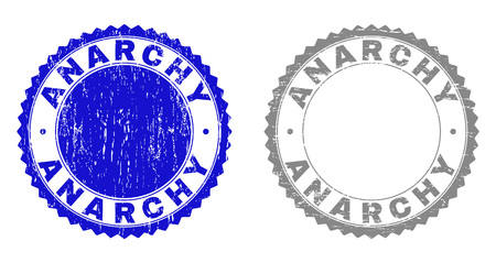 Grunge ANARCHY stamp seals isolated on a white background. Rosette seals with grunge texture in blue and grey colors. Vector rubber watermark of ANARCHY caption inside round rosette.