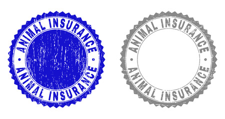 Grunge ANIMAL INSURANCE stamp seals isolated on a white background. Rosette seals with grunge texture in blue and grey colors. Vector rubber overlay of ANIMAL INSURANCE text inside round rosette.