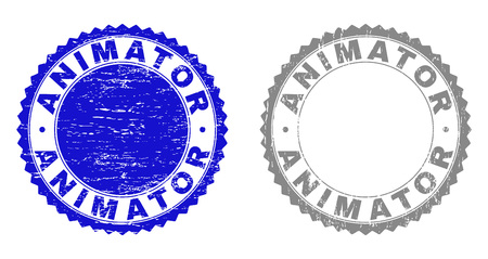 Grunge ANIMATOR stamp seals isolated on a white background. Rosette seals with grunge texture in blue and grey colors. Vector rubber overlay of ANIMATOR title inside round rosette. Stock Vector - 116384448