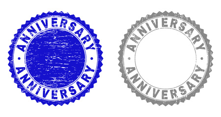 Grunge ANNIVERSARY stamp seals isolated on a white background. Rosette seals with grunge texture in blue and grey colors. Vector rubber watermark of ANNIVERSARY label inside round rosette.