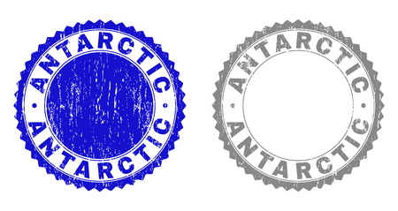 Grunge ANTARCTIC stamp seals isolated on a white background. Rosette seals with grunge texture in blue and gray colors. Vector rubber imitation of ANTARCTIC text inside round rosette. 写真素材 - 116384474