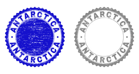 Grunge ANTARCTICA stamp seals isolated on a white background. Rosette seals with grunge texture in blue and grey colors. Vector rubber watermark of ANTARCTICA label inside round rosette.