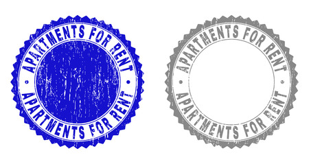 Grunge APARTMENTS FOR RENT stamp seals isolated on a white background. Rosette seals with grunge texture in blue and grey colors. Illustration