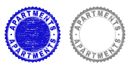 Grunge APARTMENTS stamp seals isolated on a white background. Rosette seals with grunge texture in blue and gray colors. Vector rubber imprint of APARTMENTS label inside round rosette.