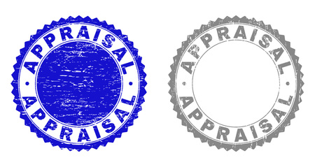 Grunge APPRAISAL stamp seals isolated on a white background. Rosette seals with distress texture in blue and grey colors. Vector rubber watermark of APPRAISAL text inside round rosette.