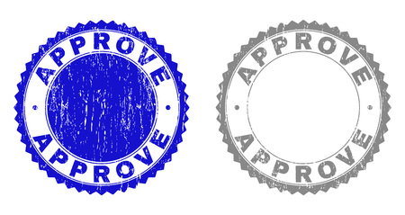 Grunge APPROVE stamp seals isolated on a white background. Rosette seals with distress texture in blue and gray colors. Vector rubber watermark of APPROVE tag inside round rosette.