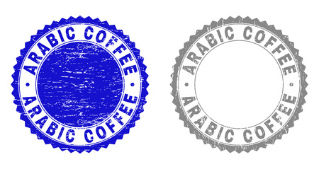 Grunge ARABIC COFFEE stamp seals isolated on a white background. Rosette seals with grunge texture in blue and grey colors. Vector rubber imprint of ARABIC COFFEE caption inside round rosette.