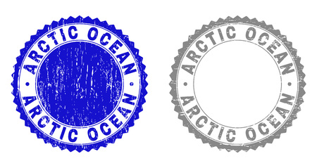 Grunge ARCTIC OCEAN stamp seals isolated on a white background. Rosette seals with grunge texture in blue and gray colors. Vector rubber overlay of ARCTIC OCEAN caption inside round rosette.
