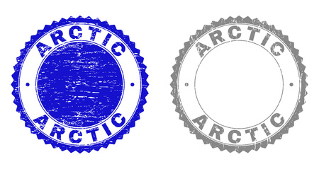Grunge ARCTIC stamp seals isolated on a white background. Rosette seals with grunge texture in blue and gray colors. Vector rubber watermark of ARCTIC title inside round rosette.  イラスト・ベクター素材