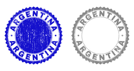 Grunge ARGENTINA stamp seals isolated on a white background. Rosette seals with grunge texture in blue and grey colors. Vector rubber imprint of ARGENTINA tag inside round rosette.